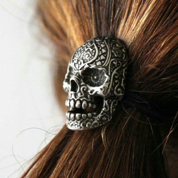 Sugar skull ponytail holder