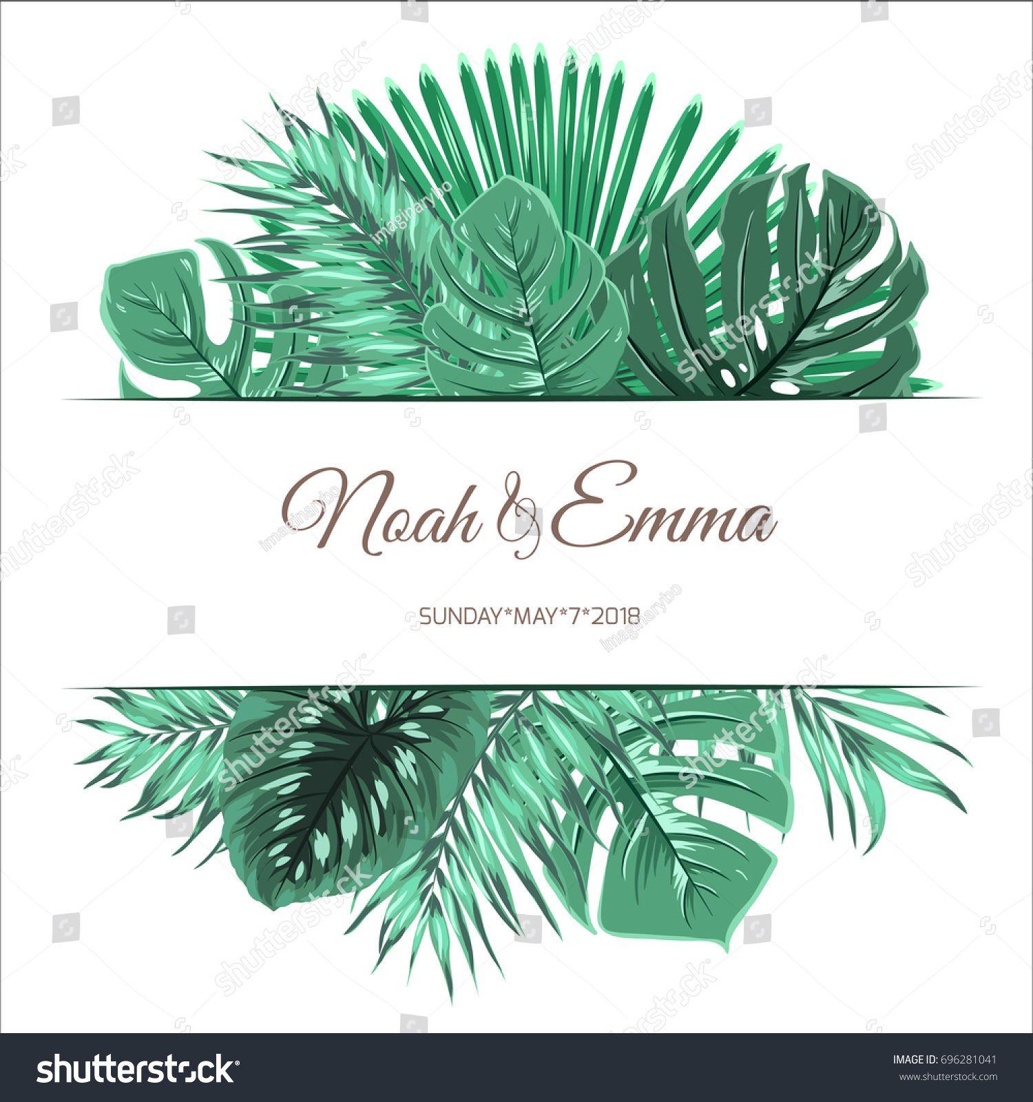 Exotic tropical green jungle tree summer leaves banner card event exotic tropical green jungle tree summer leaves banner card event invitation template text placeholder vector design illustration stopboris Choice Image