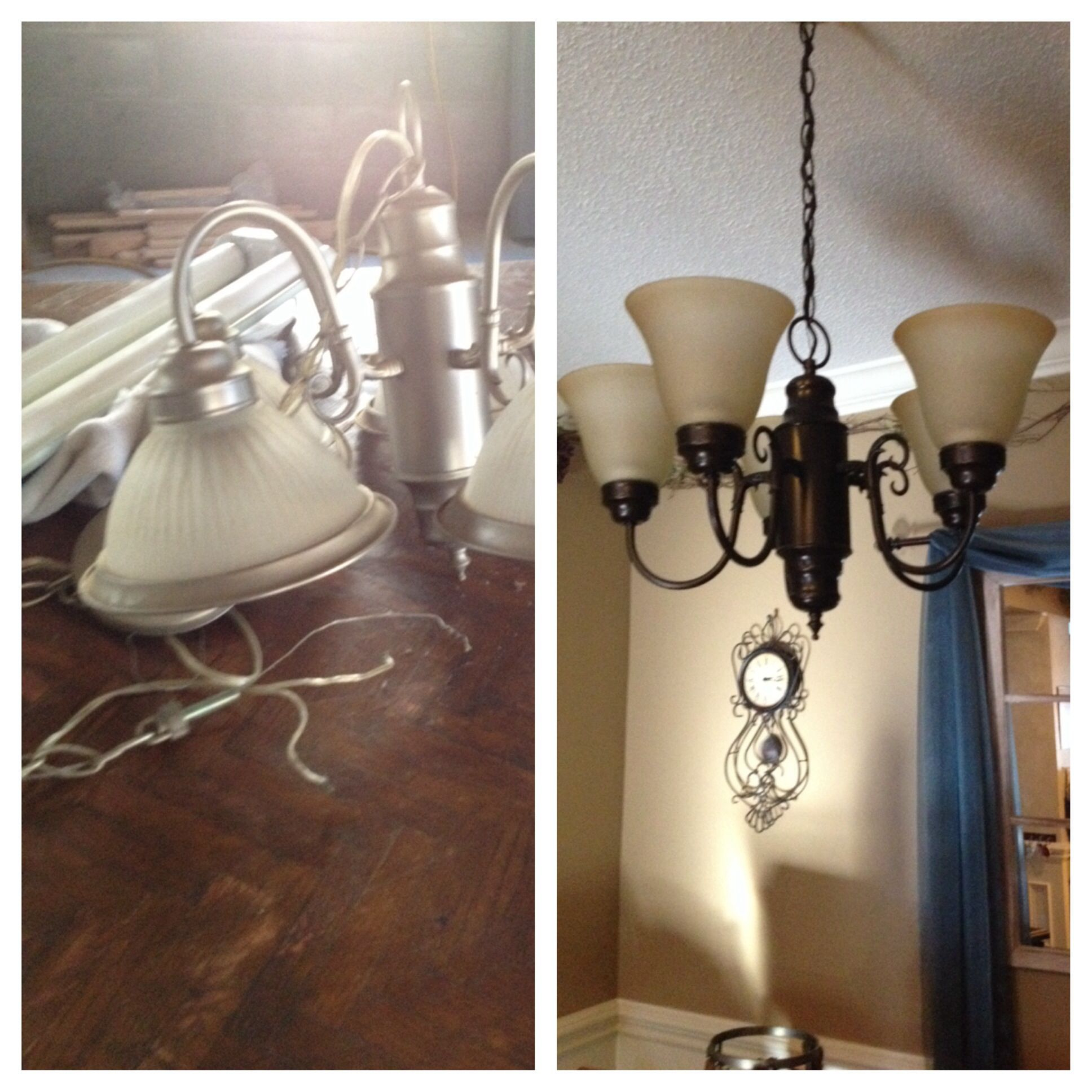 My chandelier makeover i used rustoleum oil rubbed bronze spray my chandelier makeover i used rustoleum oil rubbed bronze spray paint aloadofball Images