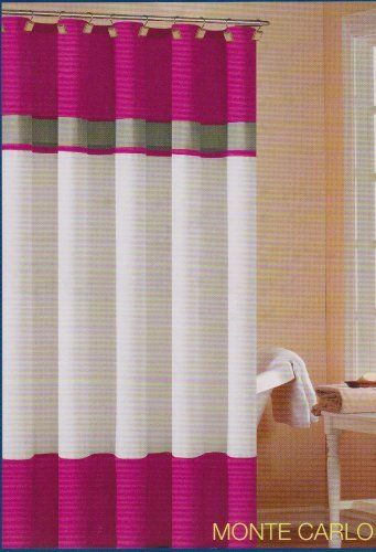 Soft Microfiber Fabric Shower Curtain Monte Carlo Hot Pink