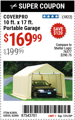 COVERPRO 10 Ft. X 17 Ft. Portable Garage for $169.99 in ...