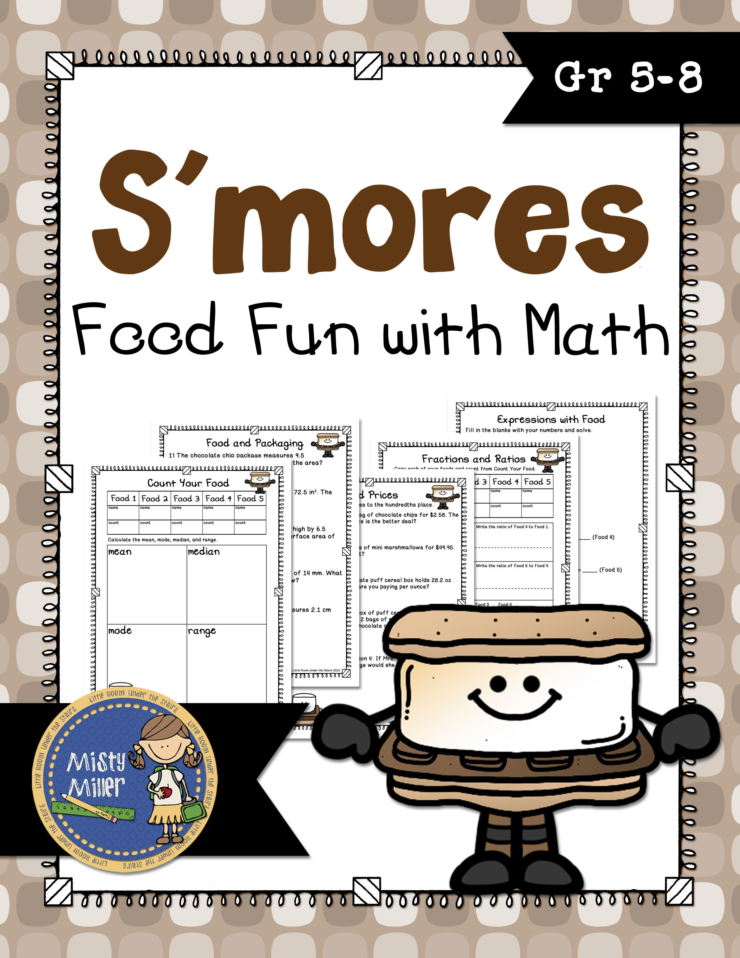 S Mores Food Fun With Math Packet Allows You To Give Your Kids A Treat And Some Math Problems This Packet Includes 5 Pages O Math Packets Math Math Activities [ 3300 x 2550 Pixel ]