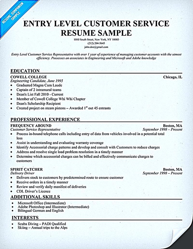 customer service resume consists of main points such as