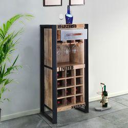 modern industrial rustic mango wood 12 space wine rack cabinet rh pinterest com  modern wine rack table