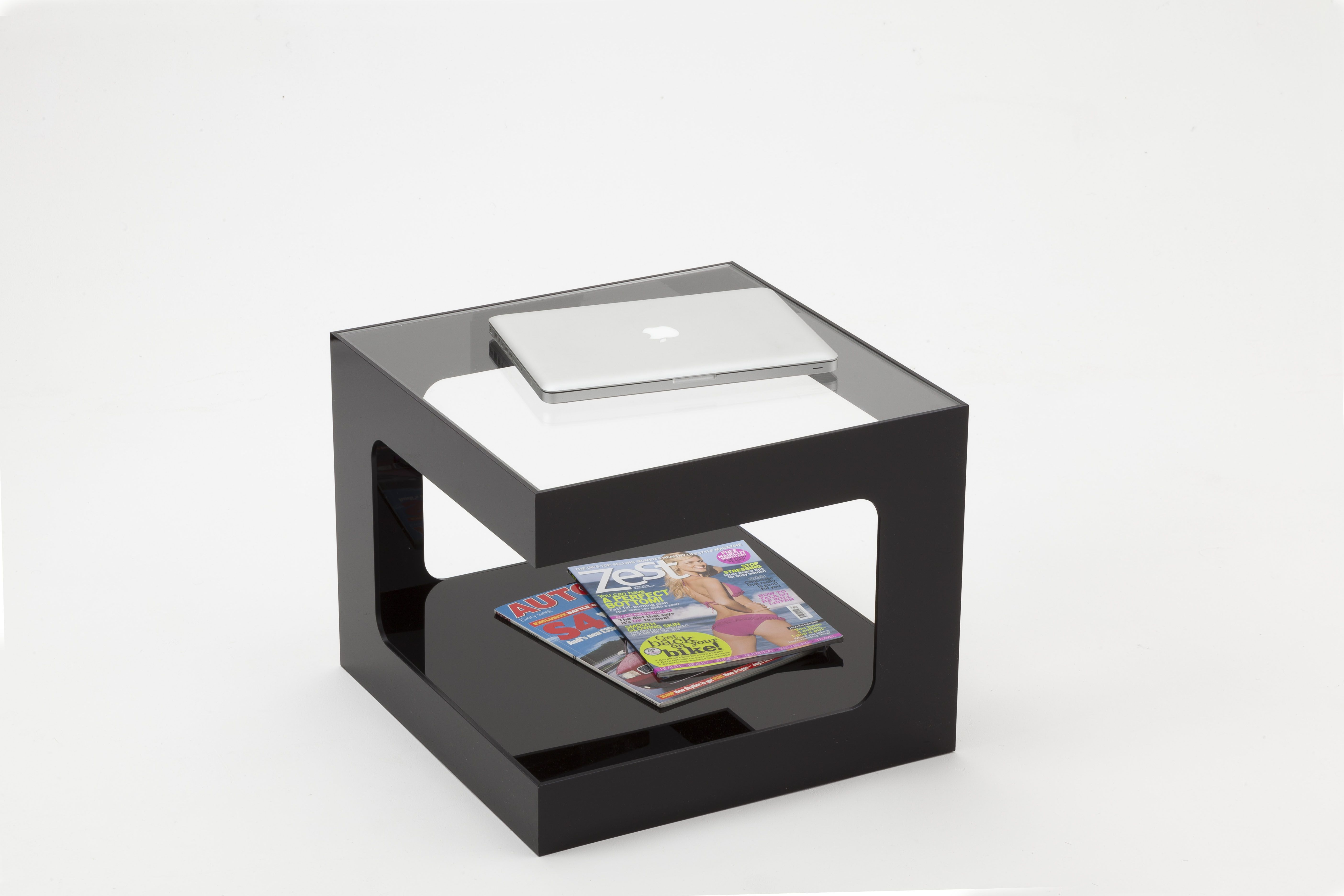 Black Acrylic Coffee Table With Clear Top Manufactured From Premium 6mm Thick Measuring 500 W X D 400mm H