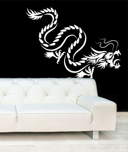chinese tribal dragon silhouette wall art vinyl stickers oriental