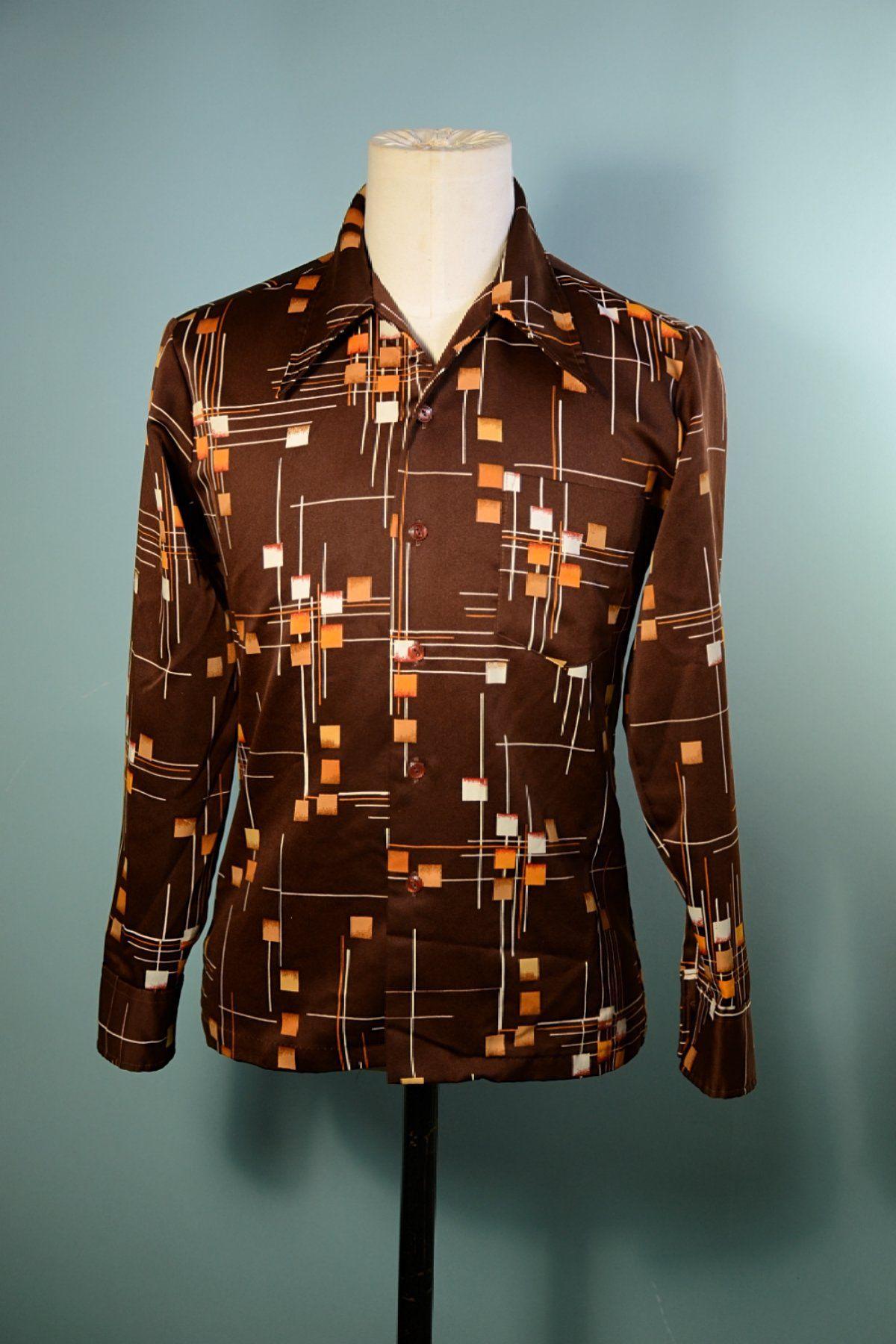 Cream Button Up Shirt with Sharp Collar 70s