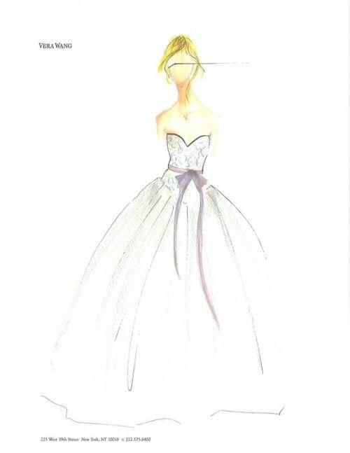 boceto de vestido de novia corte princesa con lazo en color rosa