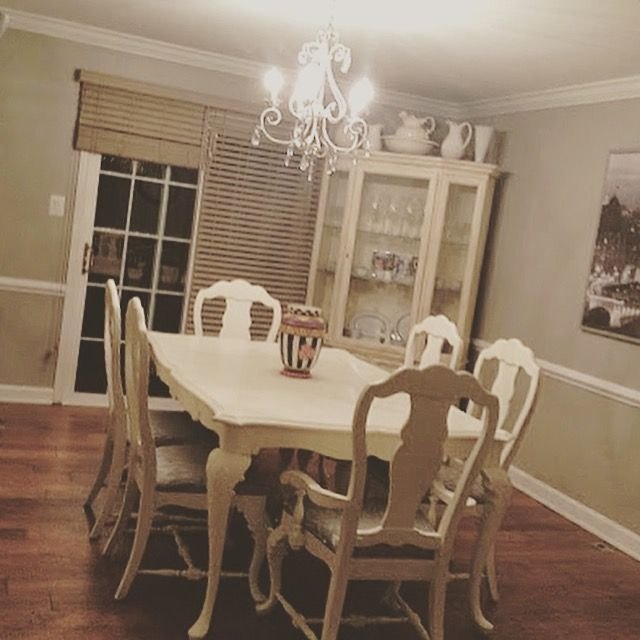 DIY Chalk Painted Dining Room Table Chairs Reupholstered With Curtains Shabby Chic
