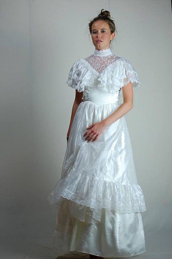 Vintage 70s 80s White Lace + Ruffles GUNNE SAX Southern Belle ...