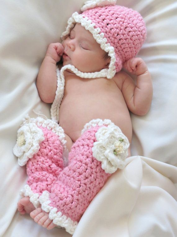 Crochet baby hat and leg warmers pattern newborn photo prop hat pattern with earflaps leg warmer pattern snow flower hat and leg warmers