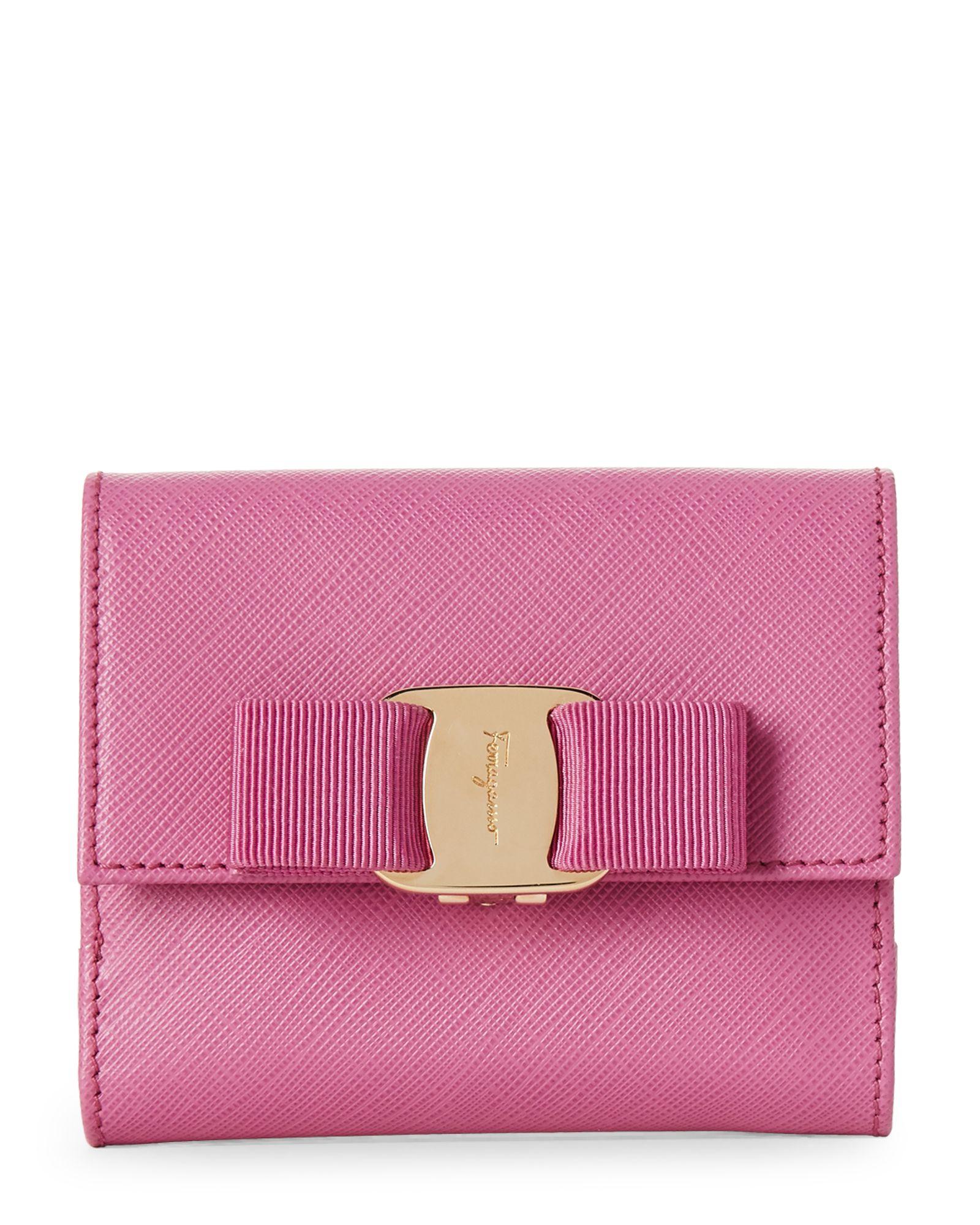 Salvatore Ferragamo Pink Vara Saffiano French Wallet  792629bedc155