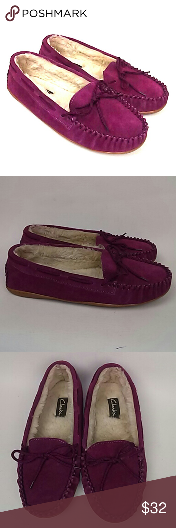 d424d1eeaa7 Shop Women s Clarks Pink size 10 Slippers at a discounted price at Poshmark.  Description  Faux Fur Lined Women s Shoes.