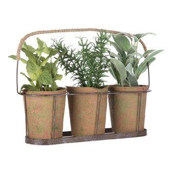 Potted Herbs In Metal Basket Hobby Lobby 1220862 In 2020 Herb Pots Metal Baskets Flower Pots