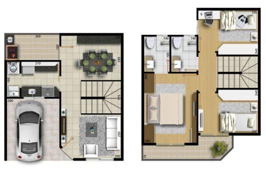 Resultado de imagem para plantas de sobrados com garagem for Casa moderna 80m2