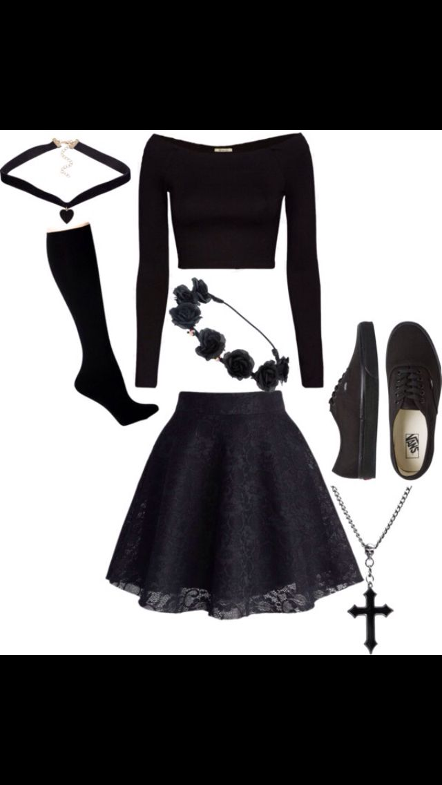 Slay. /// All Black Outfits Black Flower Crowns Goth Emo Fancy Dress Up Oufits S…