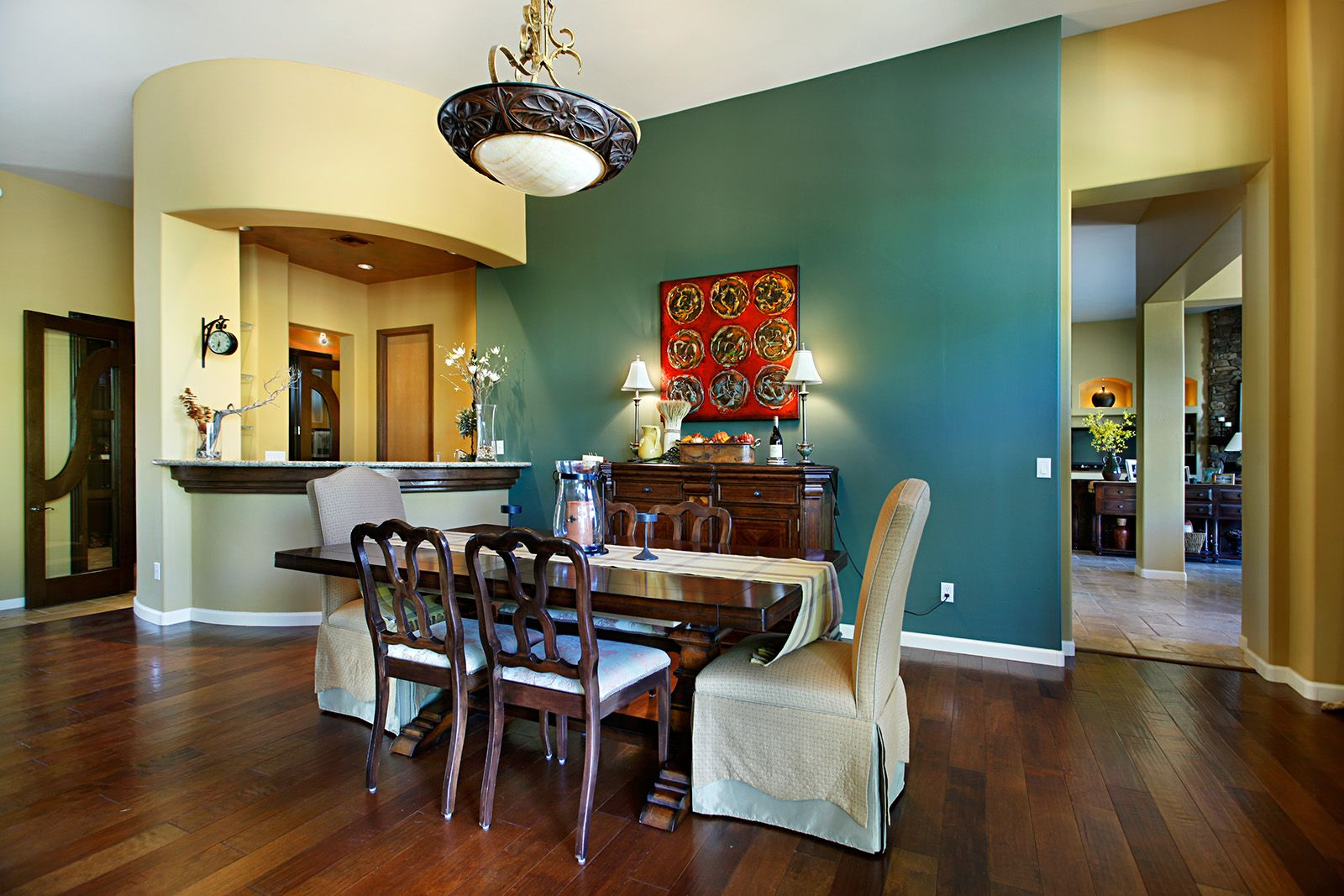 This Turquoise Accent Wall Really Makes Formal Dining Room In DC Ranch Country Club Stand