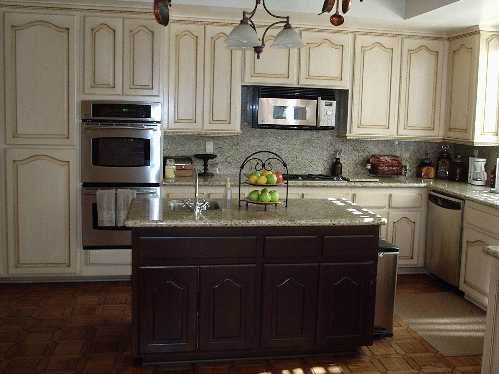 cream cabinet color granite Home Sweet Home Pinterest
