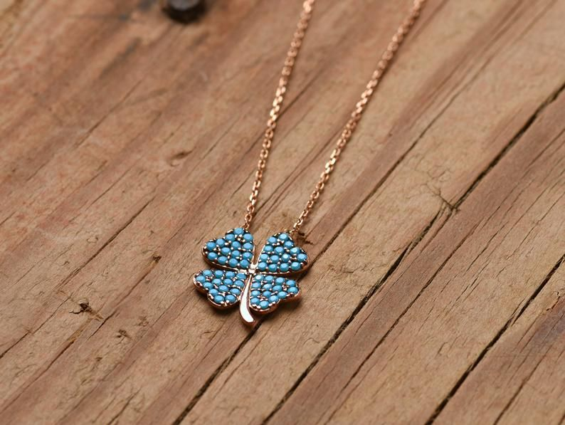 14k Gold Four Leaf Clover Necklace Turquoise Clover Necklace Etsy In 2020 Four Leaf Clover Necklace Clover Necklace Clover Leaf