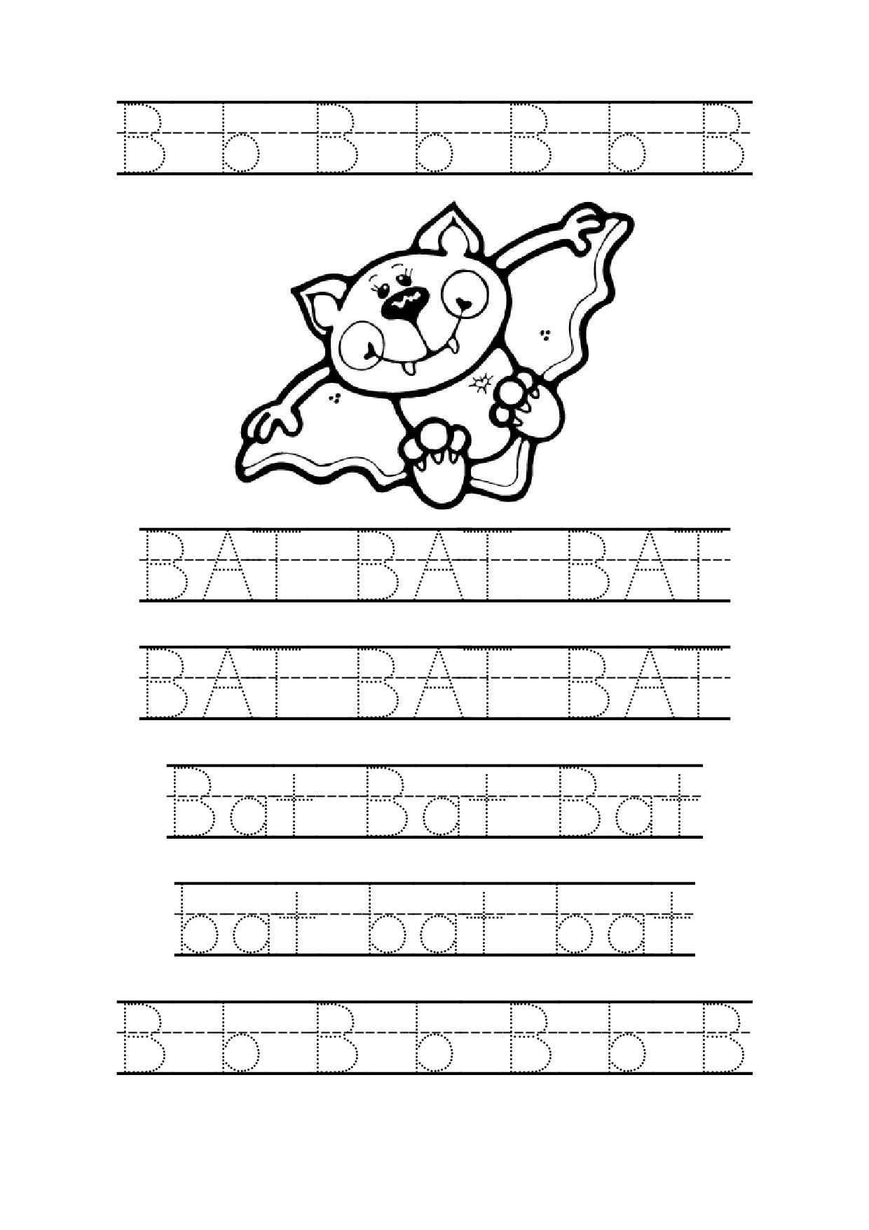 Tracing Bat Worksheets For Preschool Bat Coloring Page  Printable