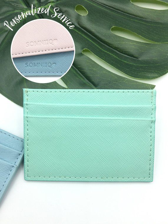 d7aba46b62b6 Personalized leather card holder Custom credit card holder Card wallet  Monogram card case Small leat