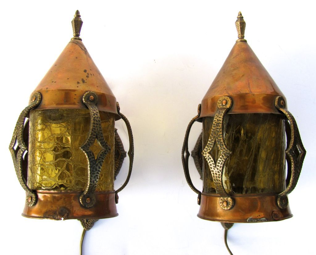 Pair Of Arts And Crafts Copper And Brass Wall Sconces In