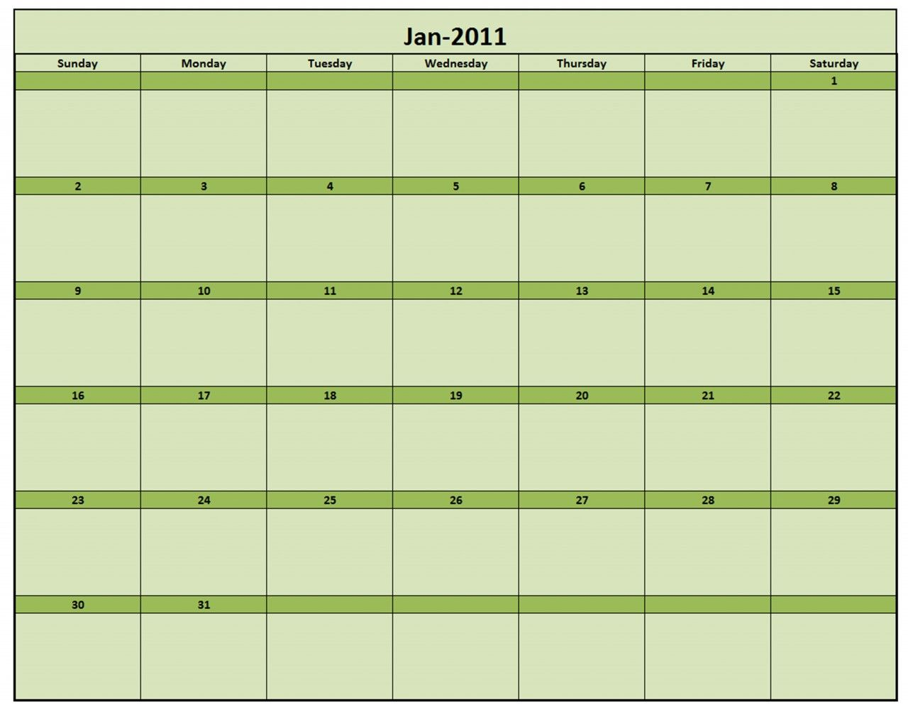 Printable Monthly Calendar  Excel Template  Monthly Calendar