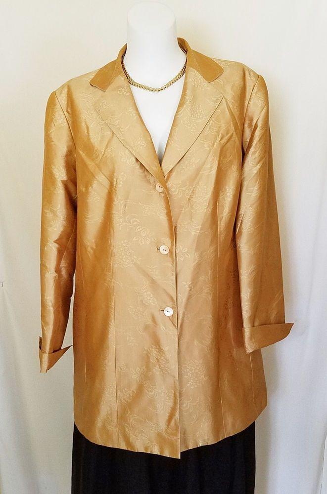 Kate Hill Woman Duster Jacket Long 18W 100% Silk Beige Gold Lined Career #KateHill #BasicJacket #Evening