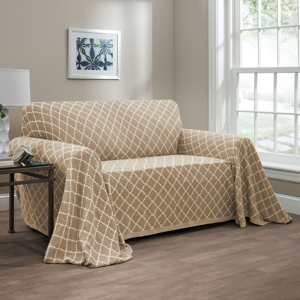 Innovative Textile Solutions Reversible Ogee Loveseat Throw, Lt Brown