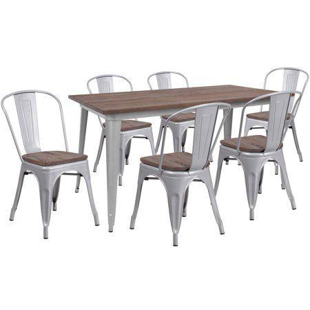 Flash Furniture 30 25 Inch X 60 Silver Metal Table Set