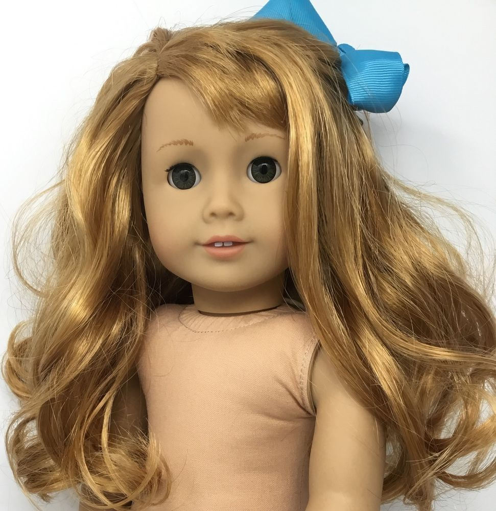 details about american girl doll brown hair , green/ hazel