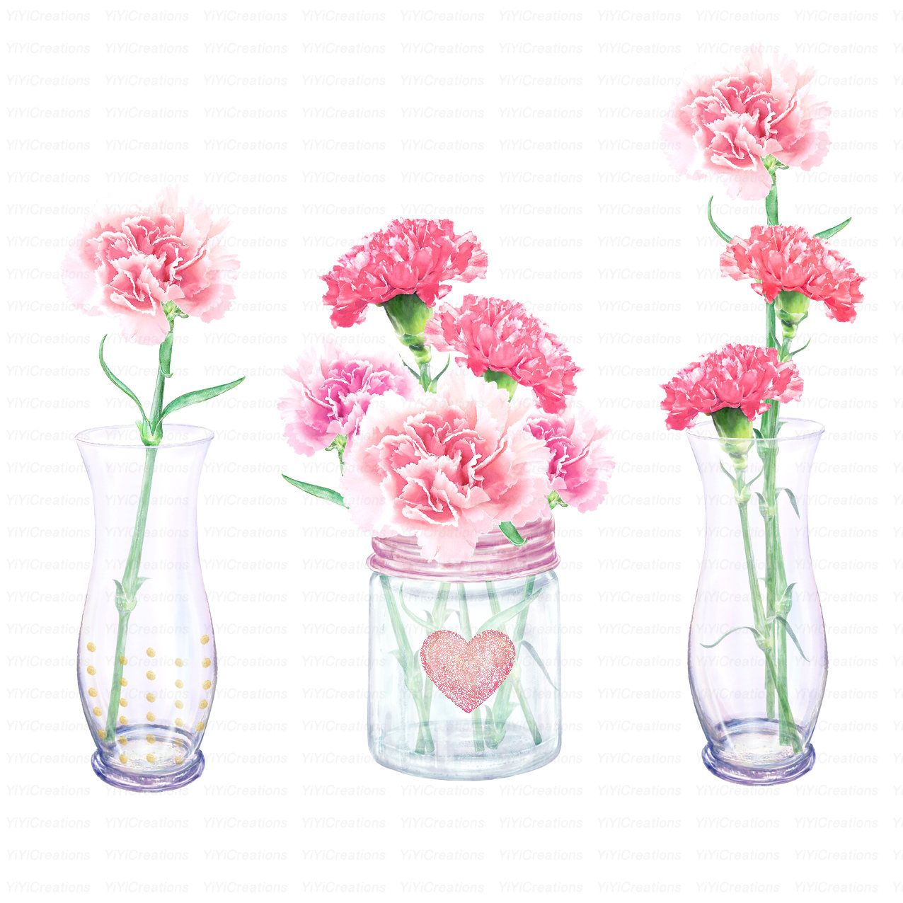Watercolor Flower Clipart Carnations In Vase Clipart For Invitation Glitter Ribbon Bow Flower Bouquet Spring Wedding Invitation From Yiyicreations On Malen