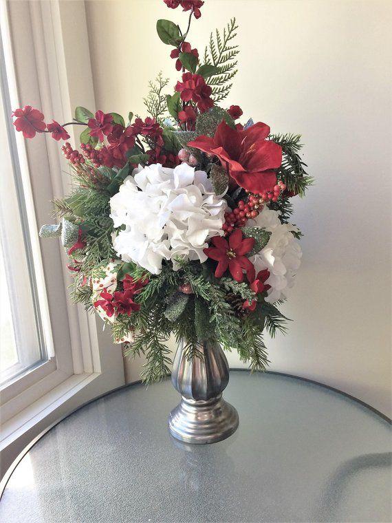 Red Amaryllis Flower Arrangement Winter Centerpiece Artificial