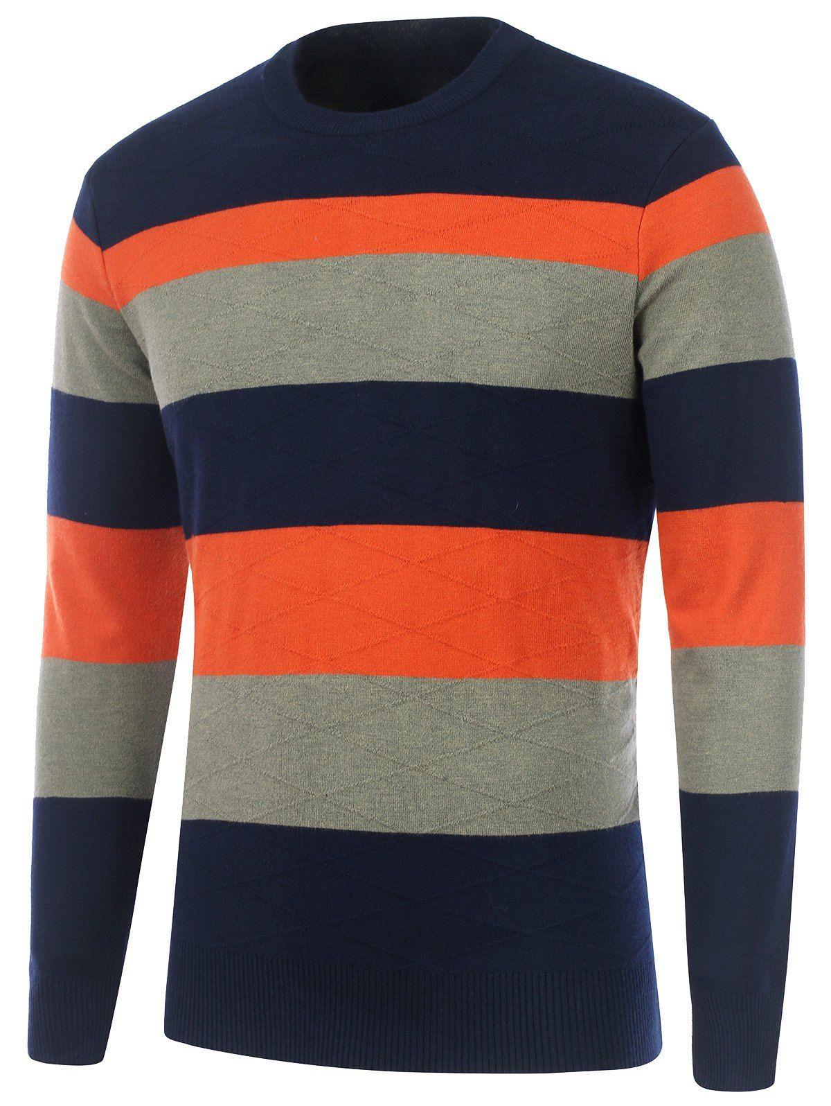 Cardigans & Sweaters | Cadetblue Striped Rhombus Pattern Crew Neck ...