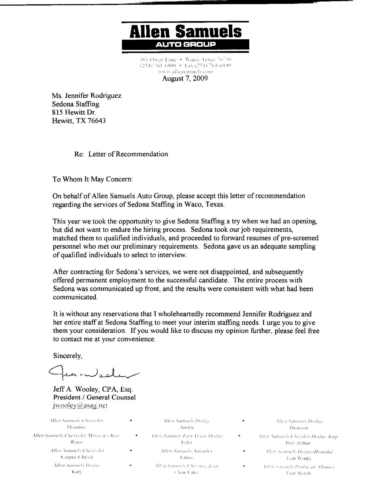 Sample Recommendation Letter For Client  EczaSolinfCo