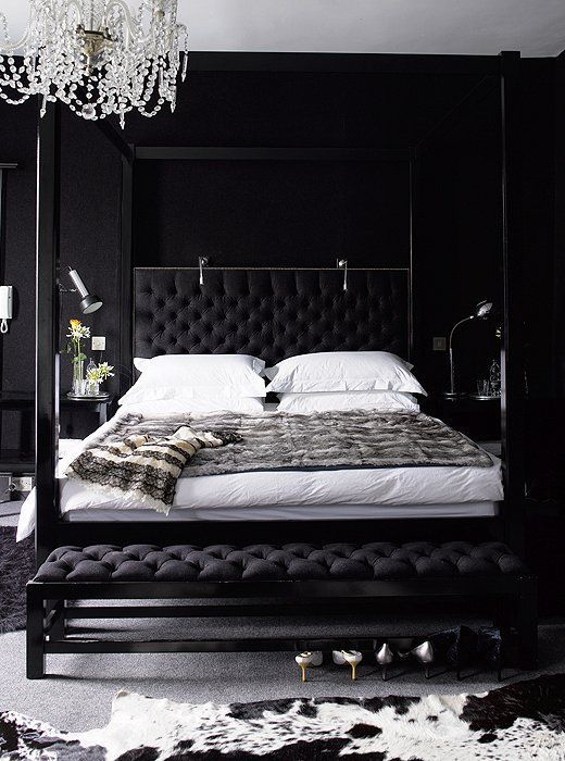 Black Bedroom may moodboard: black, white and luxurious | black headboard