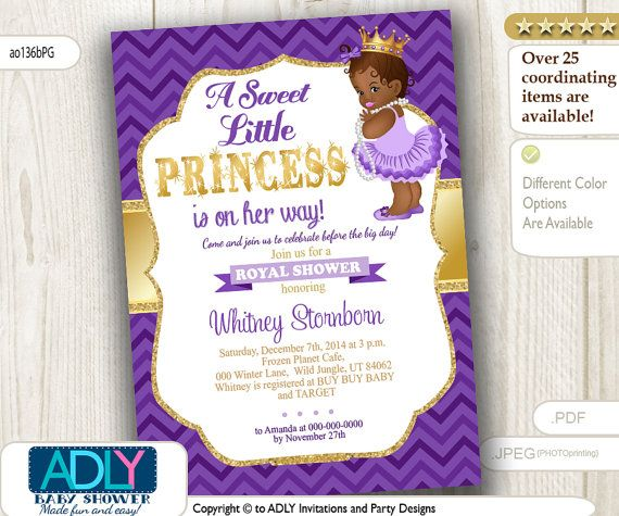 purple gold african american princess baby shower baby girl shower crown is on her way instant download ao136bpg