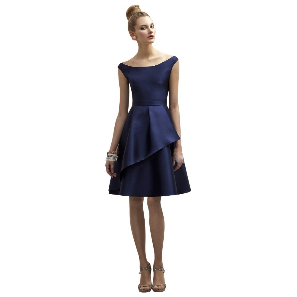 Navy blue simple cheap bridesmaid dresses 2017 hot sale a line cap navy blue simple cheap bridesmaid dresses 2017 hot sale a line cap sleeves satin knee ombrellifo Gallery