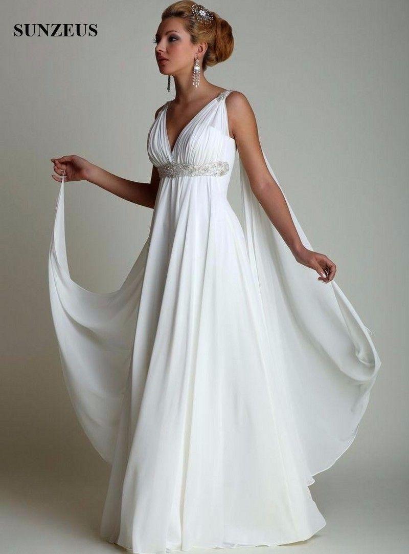 Greek Style Wedding Dresses with Watteau Train 2017 V-neck Long ...