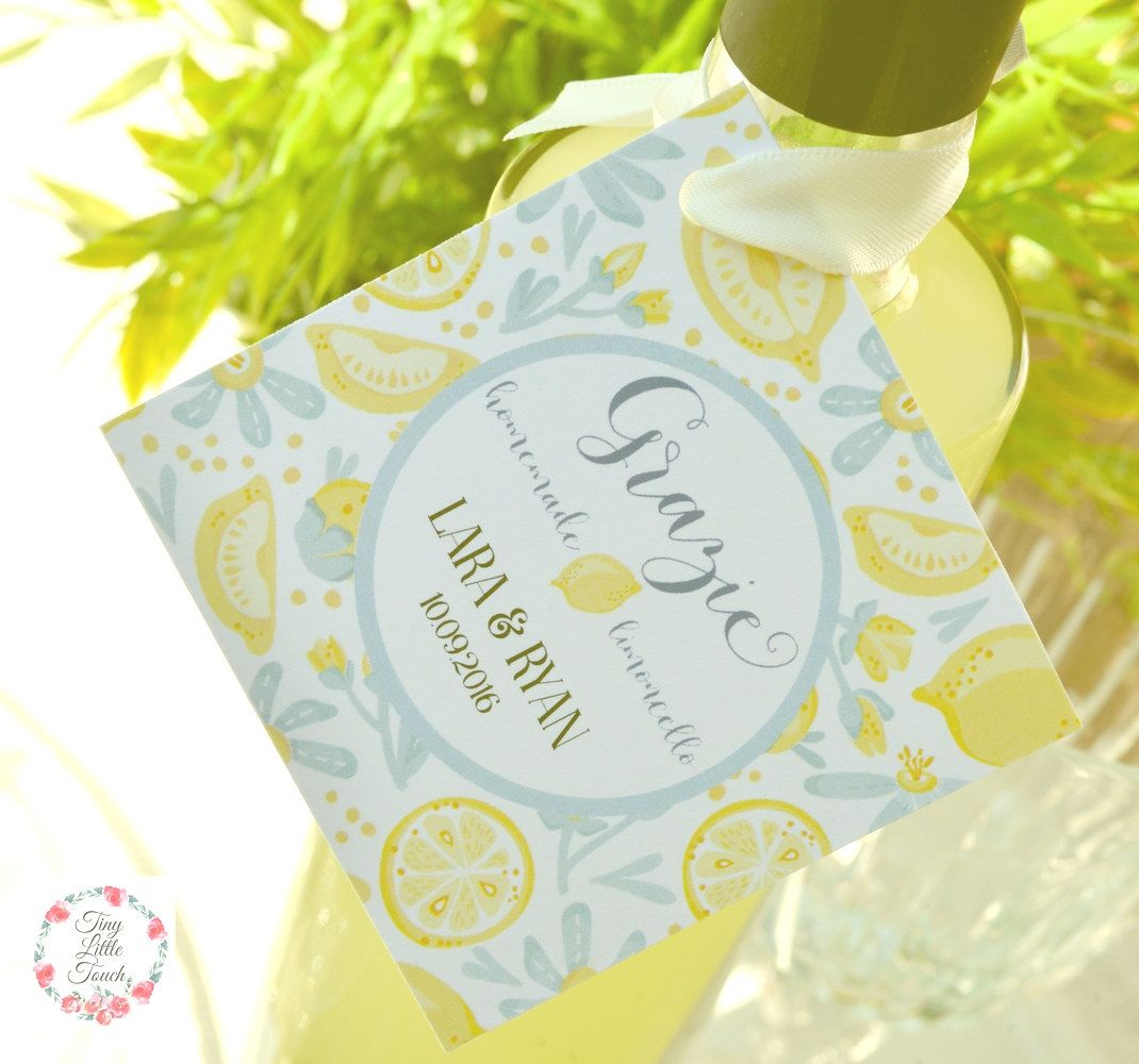 Limoncello Tags Personalized, Grazie, Italian Wedding Tags, Wedding ...