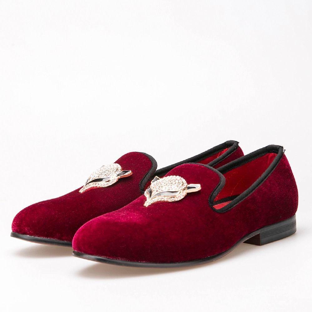 4d5b1fbd718 nanaloafers - Men Wine Red Velvet with Fox Rhinestone buckle Loafers