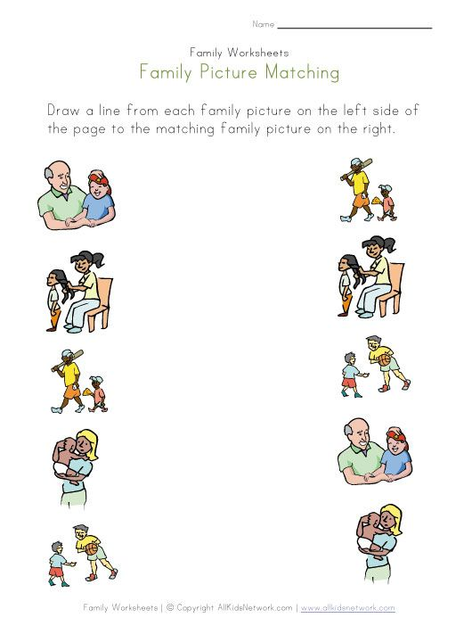 Family Picture Matching Worksheet Family Worksheet Worksheets For Kids Preschool Family Theme