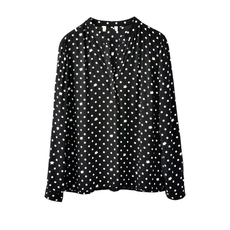 dc9e099f49d CT315 Discount Cotton V Neck Blouses Women With Long Sleeve Fashion Soft  Geometric Slim Business Sexy