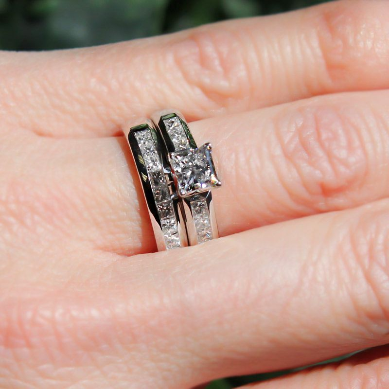 Lab Created Diamond Engagement Rings Melanie Wedding Set 0 78ct Princess Cut J Vs1