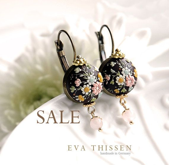 SALE. NOCTURNE. Beautiful made to order handmade polymer clay earrings