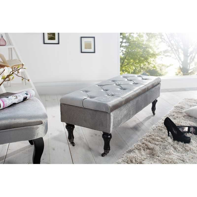 Banc contemporain 110 cm en velours coloris gris | Art Home Deco ...