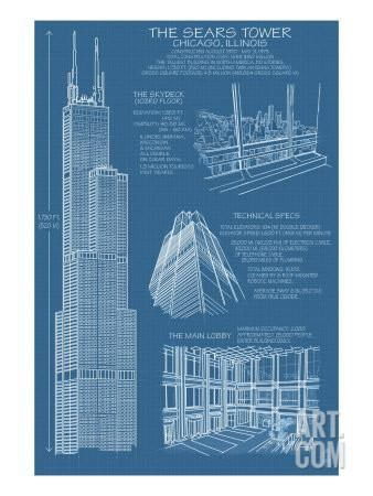 Sears Tower Blue Print - Chicago, Il, c.2009