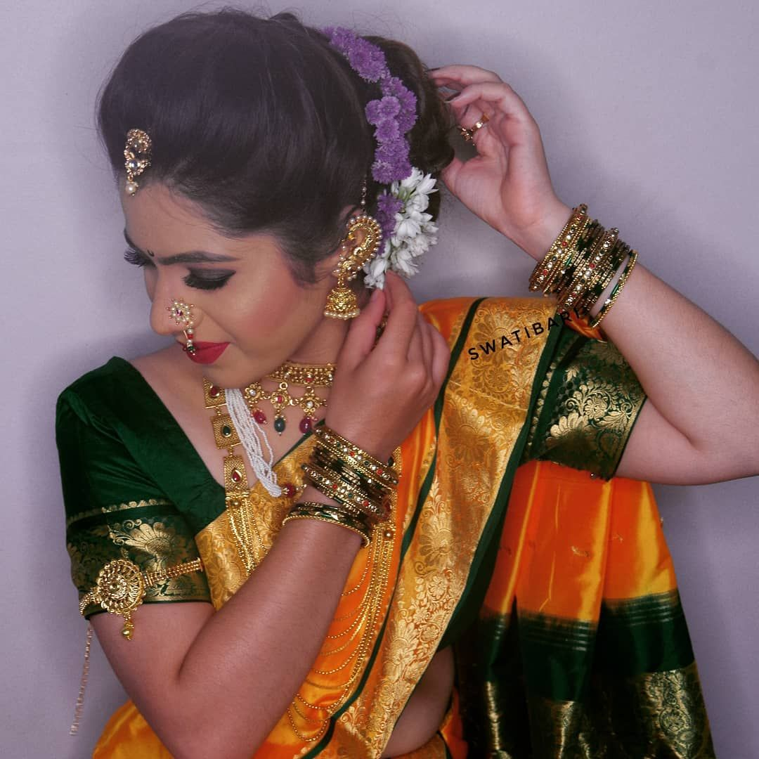 If Makeup Makes You Happy Paint Your Whole Face Cake It On Blend It Till Your Arms Fall Off And Forget What Anyone Else Says Nauvari Saree Hair St Hair Styles