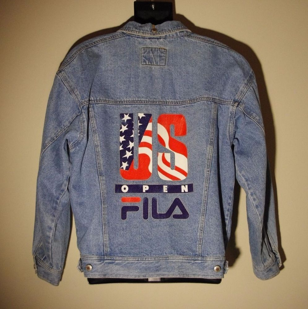 0bfd0543539 RARE Vintage 90s FILA US Open Jean Jacket Tennis Men's Medium Stone Wash  Denim