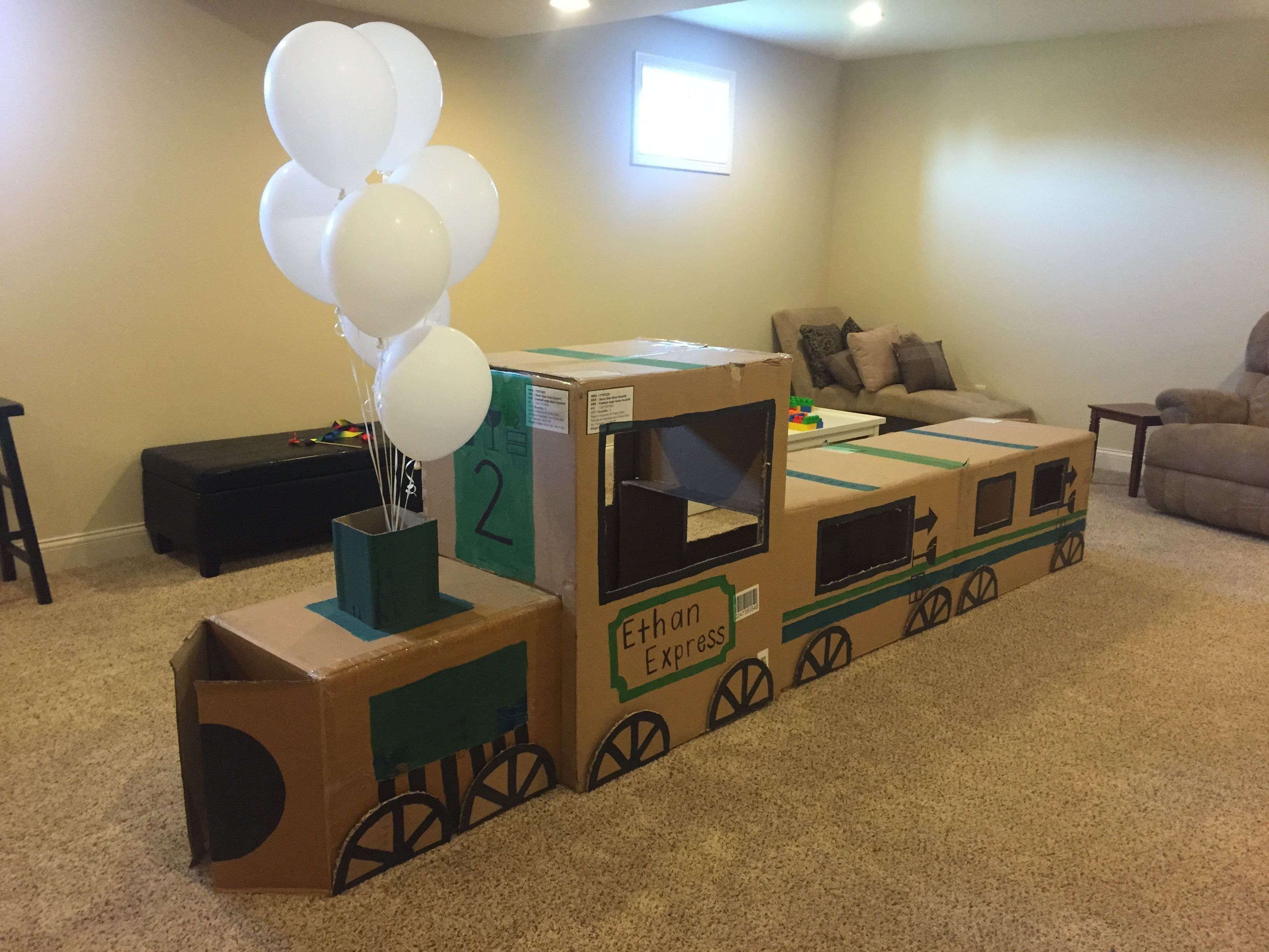 Cardboard train! Perfect for toddler parties! | Train toddler party ...